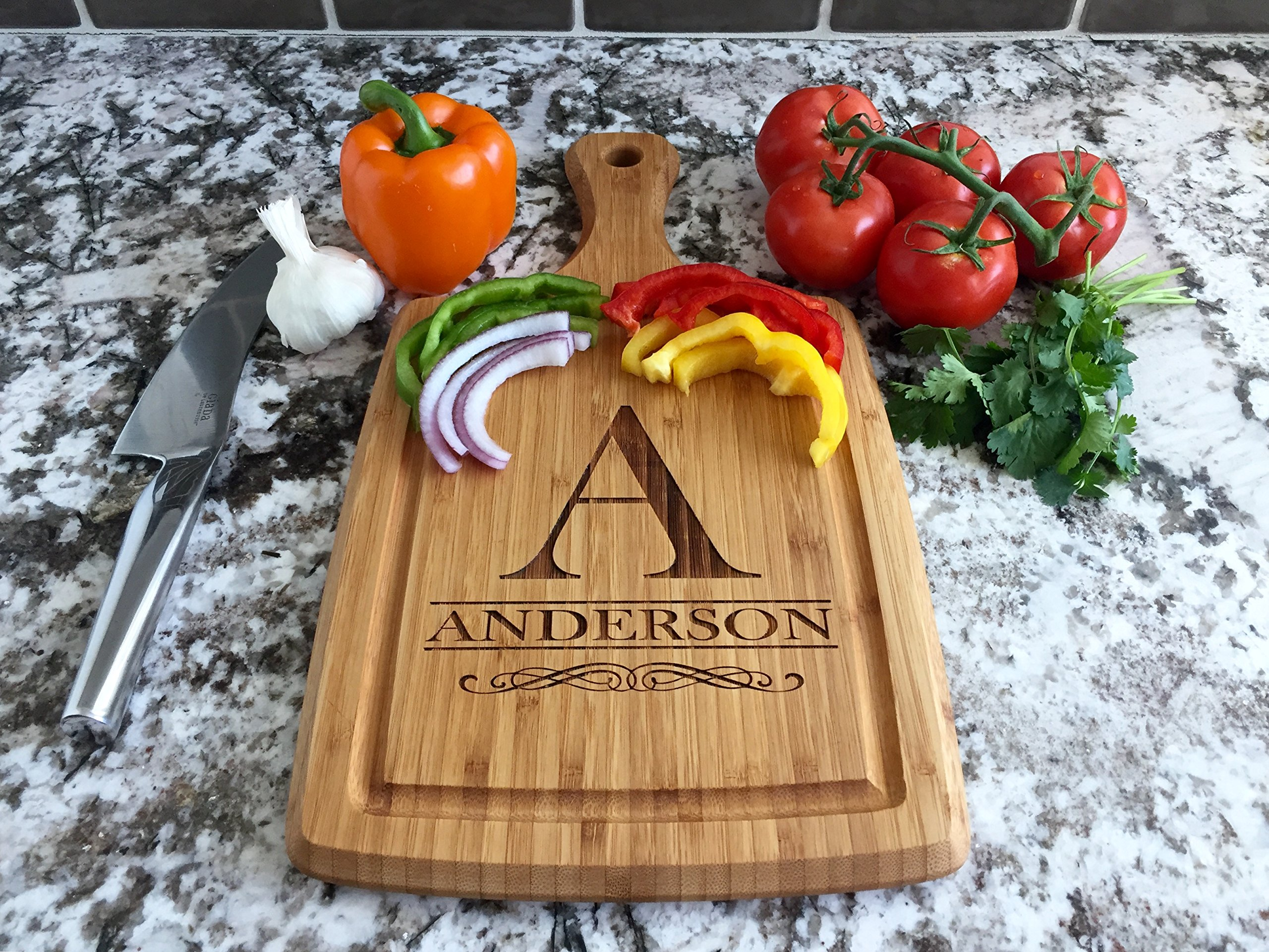 Personalized by Name Cutting Board for Kitchen - Wood Boards Housewarming & Wedding Gift (9 x 17 Bamboo Rectangular with Grooves, Anderson Design)