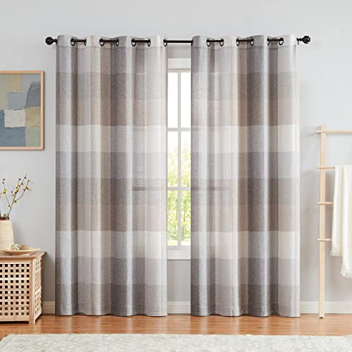 Brown 8ft Length Living Room Curtains with Buffalo Check Pattern Window Treatment Panels,Grommet Top 54 W x 95 L 2Panels