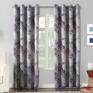 Sun Zero Reardon Distressed Global Tile Print Grommet Curtain Panel, 54  x 84 , Plum