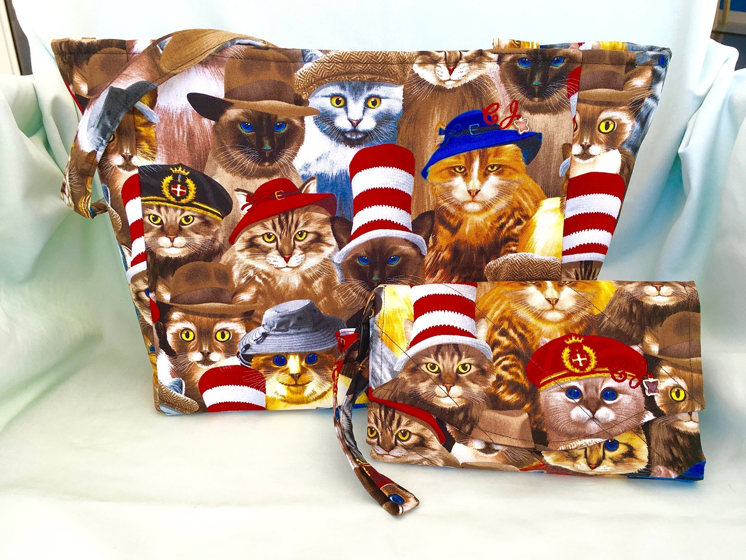 Cats with Hats Purse and Billfold/Wallet/Small Tote/Womens/Girls/Shoulder Bag/Wristlets,Clutch,Everyday Purse,Cross-Body