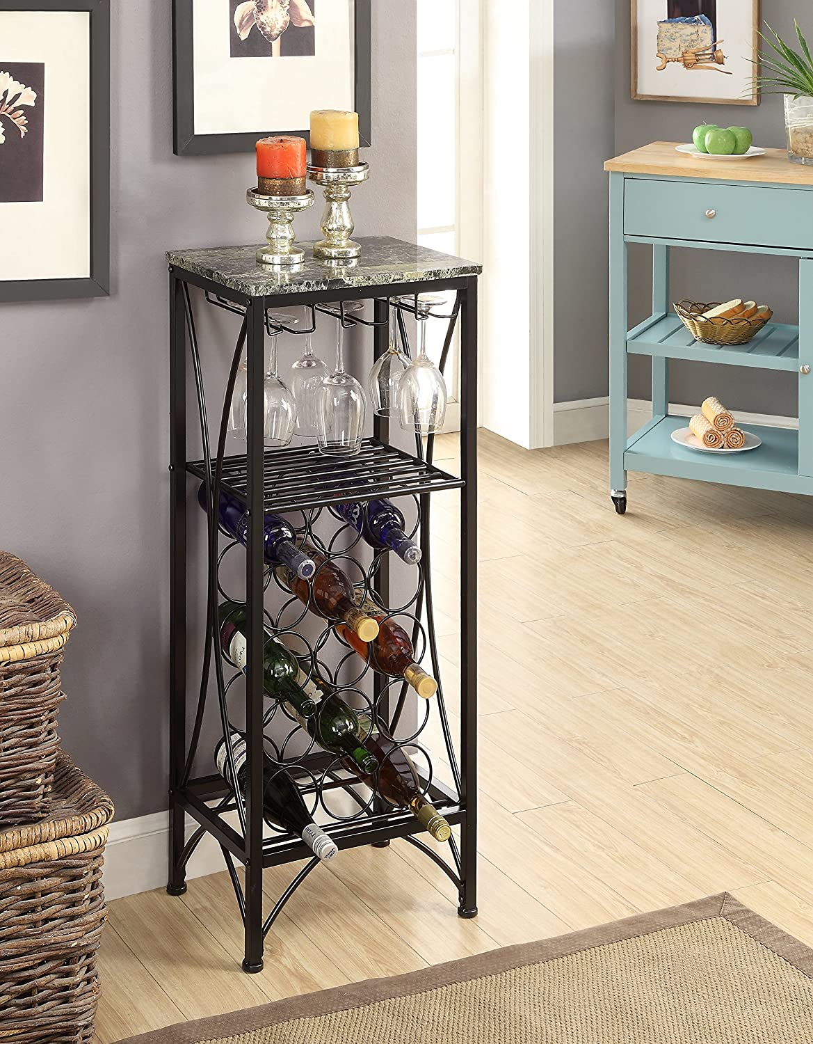 Black Metal Finish and Marble Look Top with 15 Bottle Holder Wine Organizer Rack with Shelf Kitchen and Wine Glass Holder eHomeProducts