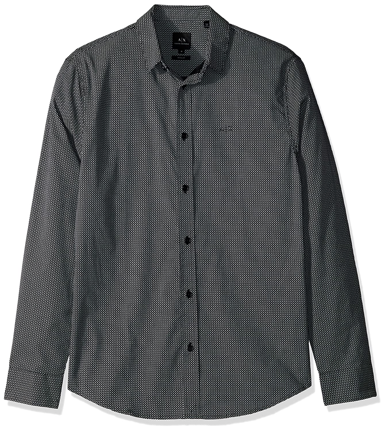 A X Arhommei Exchange Hommes's Patterned Long-Sleeve Cotton Button Down