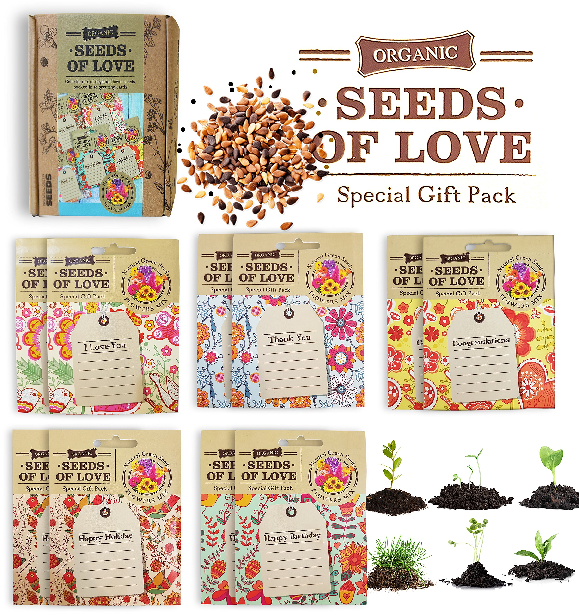 Seeds of Love: Greeting Cards with Organic Non-GMO Flower Seeds (10 pack)