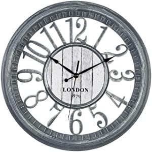 Bernhard Products Large Wall Clock 16 Inch Gray Noiseless Battery Operated Quality Quartz Rustic Shabby Chic Vintage Design for Kitchen/Living Room/Bedroom Decorative Stylish Rustic Farmhouse Clocks