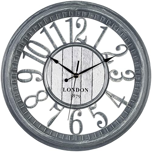 Bernhard Products Large Wall Clock 16 Inch Gray Noiseless Battery Operated Quality Quartz Rustic Shabby Chic Vintage Design for Kitchen Living Room Bedroom Decorative Stylish Rustic Farmhouse Clocks