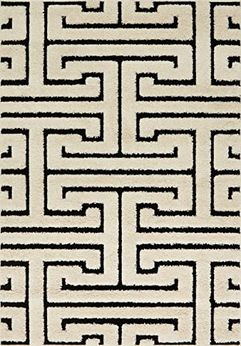 Loloi Enchant EN-28 High-Low White Black Shag Area Rug 3'-10″ X 5'-7″