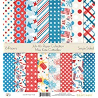 """July 4th Printed Scrapbook Paper Set By Miss Kate Cuttables: Craft Supplies For Scrapbooking, Single - Sided 12""""x12"""" Decorative Cardstock Holiday Summertime Independence Day Fireworks Theme-Pack Of 16"""