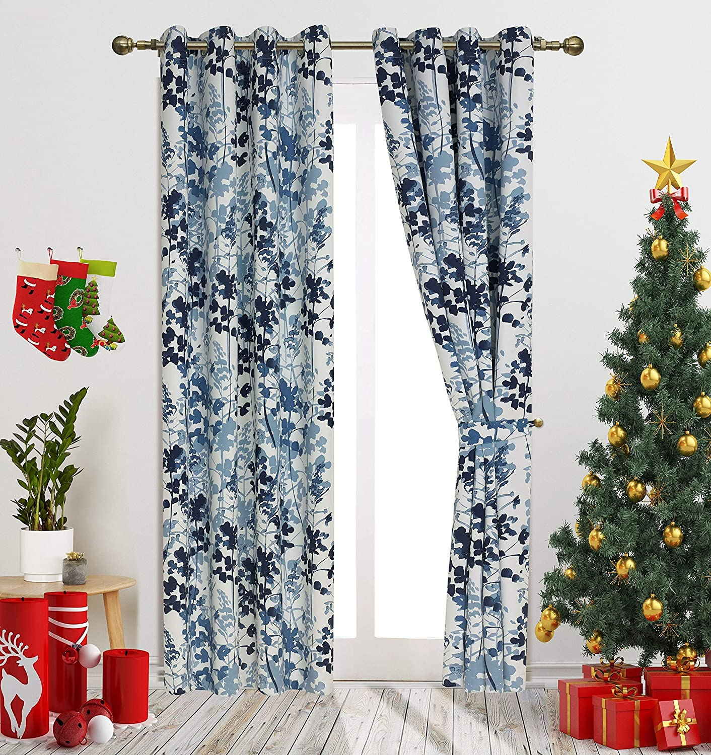 """Gold Dandelion Blue Digital Print Leaves Fashion Design Curtains Contemporary Botanic Floral Style Blackout Curtain Panels for Living Room Window Treatment for Bedroom Grommet Top 54"""" W X 95"""" L 1Pair"""
