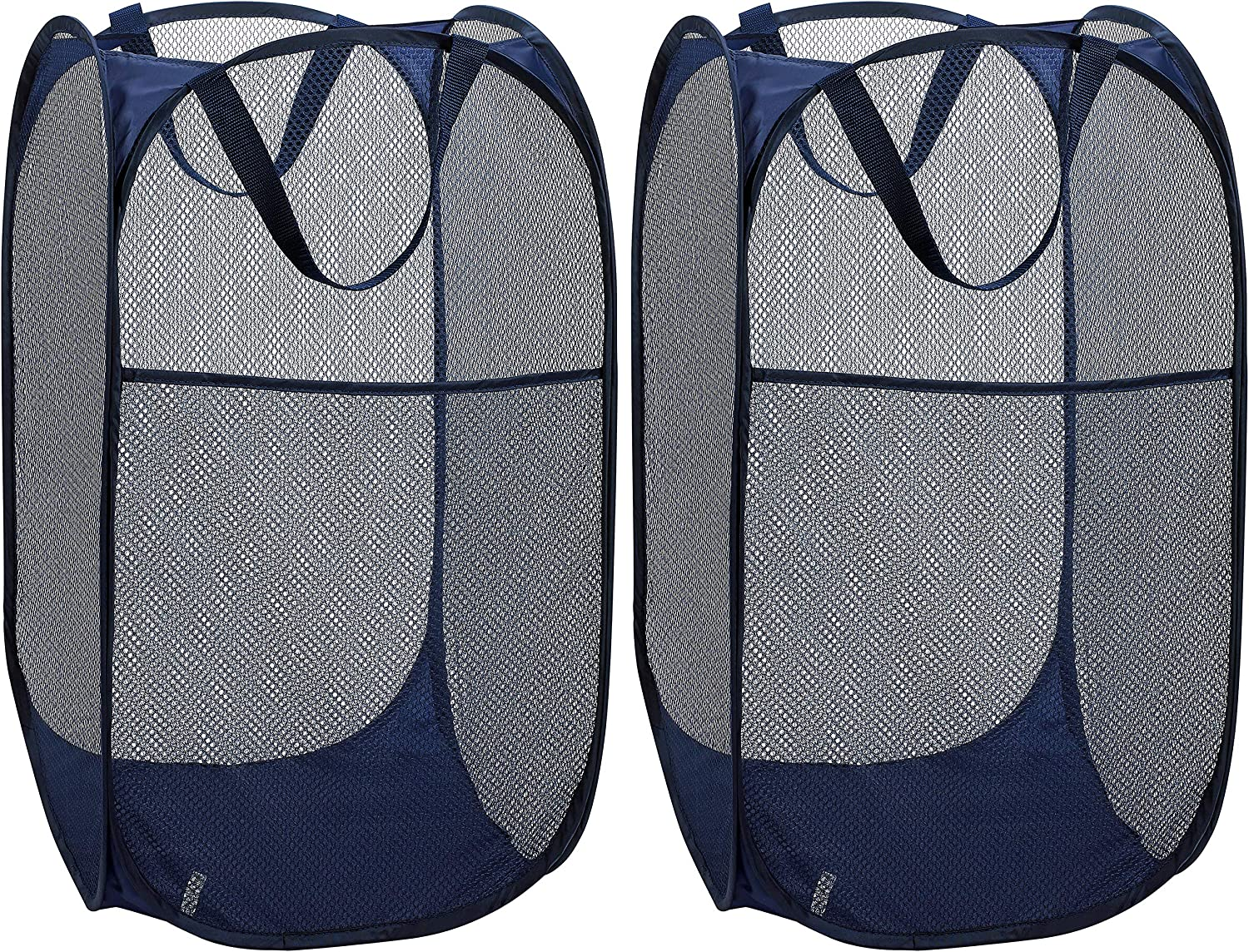 Mesh Popup Laundry Hamper - Portable, Durable Handles, Collapsible for Storage and Easy to Open. Folding Pop-Up Clothes Hampers are Great for The Kids Room, College Dorm or Travel. (Blue | Set of 2)