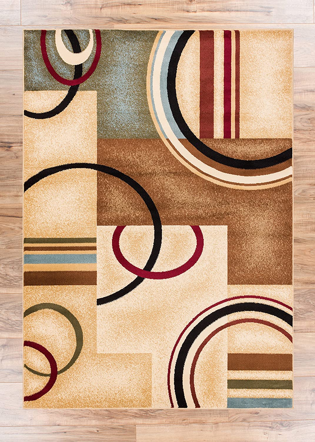 Amazon Deco Rings Ivory Geometric Modern Casual Area Rug 2x4 23 X 311 Easy To Clean Stain Fade Resistant Shed Free Abstract Contemporary