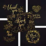 50 Thank You Cards - Black and Gold Note Cards with Embossed Foil - Perfect for Your Wedding, Baby Shower, Business, Graduation, Bridal Shower, Birthday, Engagement