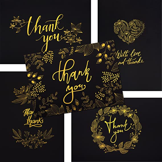 Review 50 Thank You Cards - Black and Gold Note Cards with Embossed Foil - Perfect for Your Wedding, Baby Shower, Business, Graduation, Bridal Shower, Birthday, Engagement
