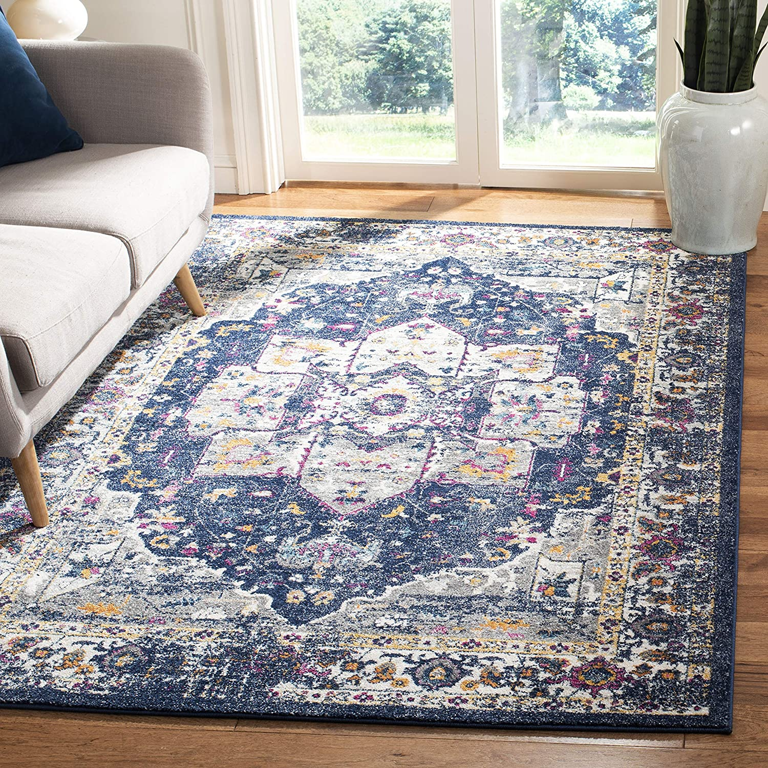 Safavieh Evoke Collection EVK275N Area Rug, 8' x 10', Navy/Grey