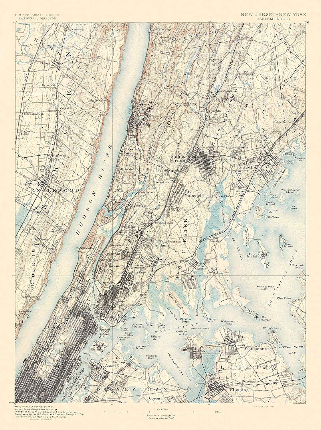Map Of New York Harlem.Amazon Com Topographical Map Harlem New York New Jersey Sheet