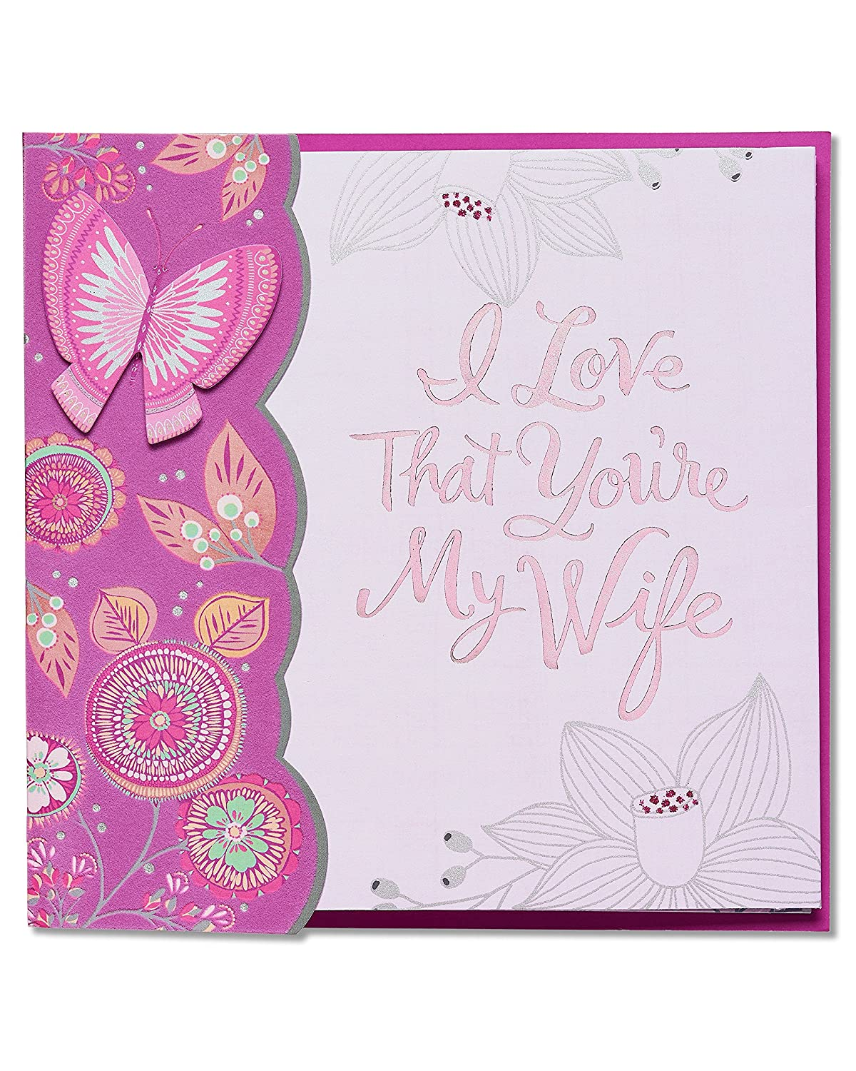 American Greetings Bunnyのバレンタインデーカードwithラインストーン B01MZ1Q3KW Floral Butterfly for Wife