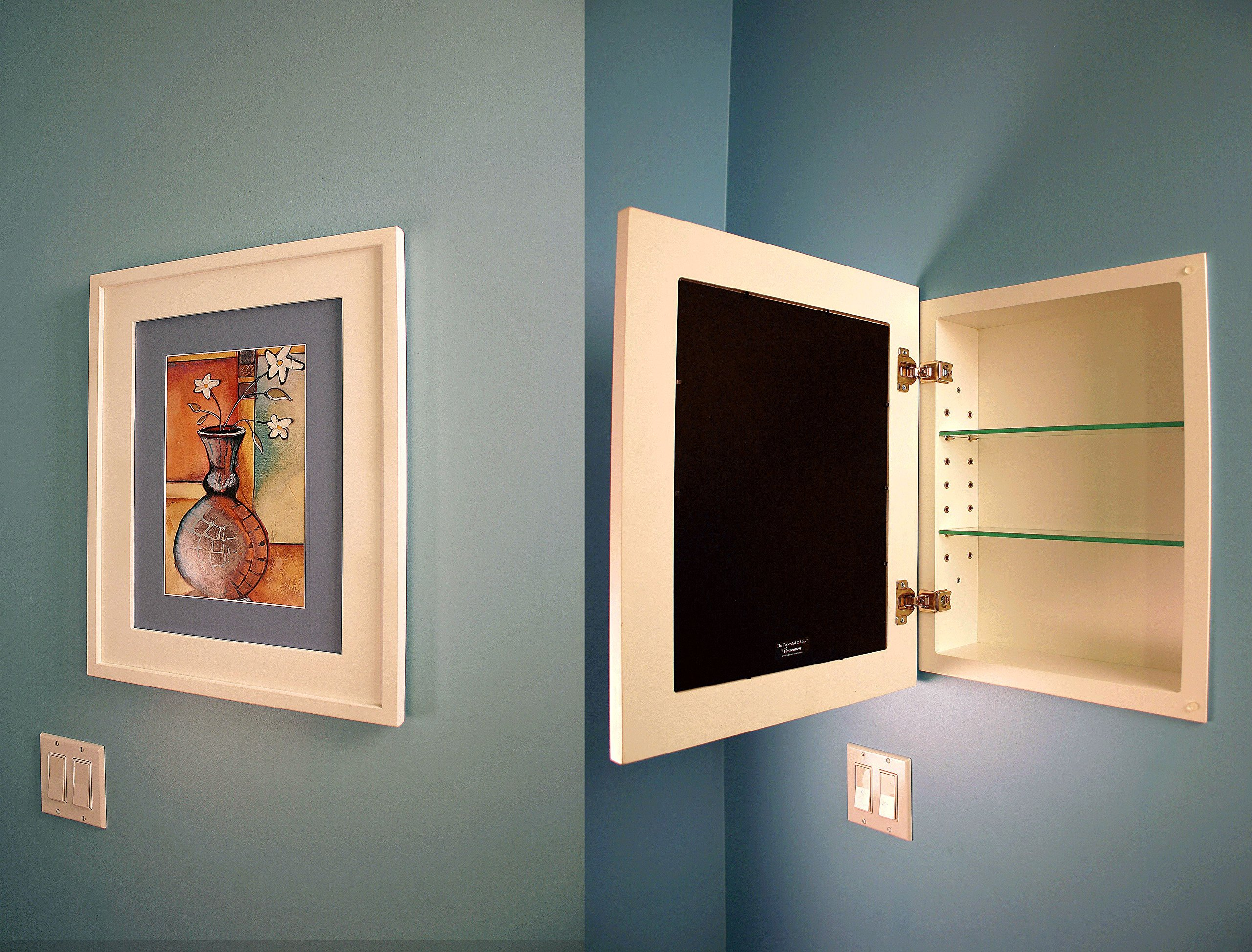 14x18 Black Concealed Medicine Cabinet (Large), a Recessed Mirrorless Medicine Cabinet with a Picture Frame Door