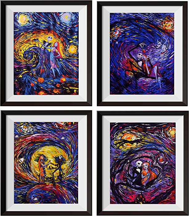 Uhomate 4 pcs Jack Sally Jack and Sally Nightmare Before Christmas Vincent Van Gogh Starry Night Posters Wall Art Wall Decor Bedroom Bathroom Artwork M038 (5X7)