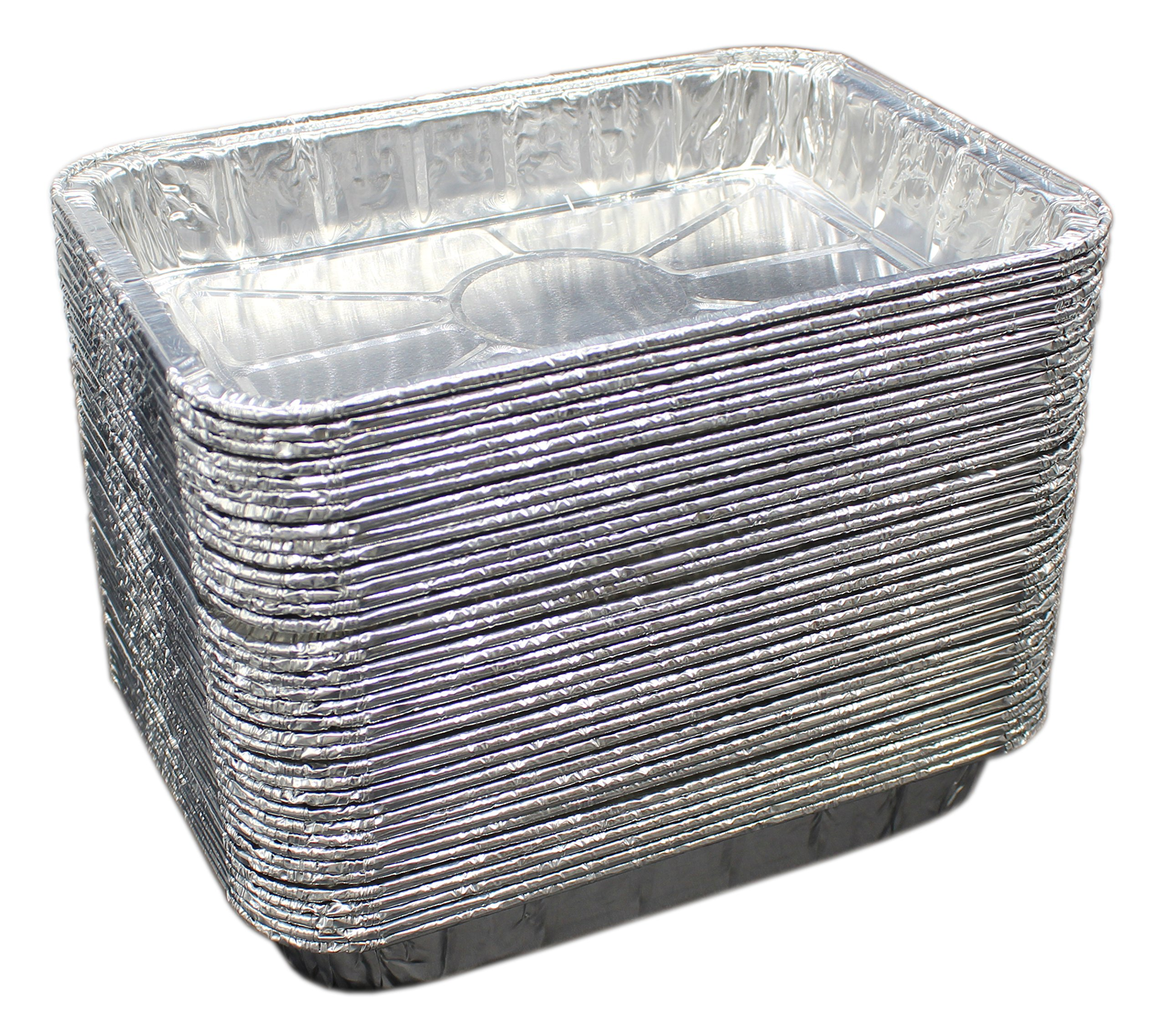 Aluminum Foil Grill Drip Pans - Bulk Pack of Durable Grill Trays – Disposable BBQ Grease Pans – Compatible with Weber Grills - Made in The USA - Also Great for Baking, Roasting & Cooking (Pack of 50) by MontoPack (Image #2)