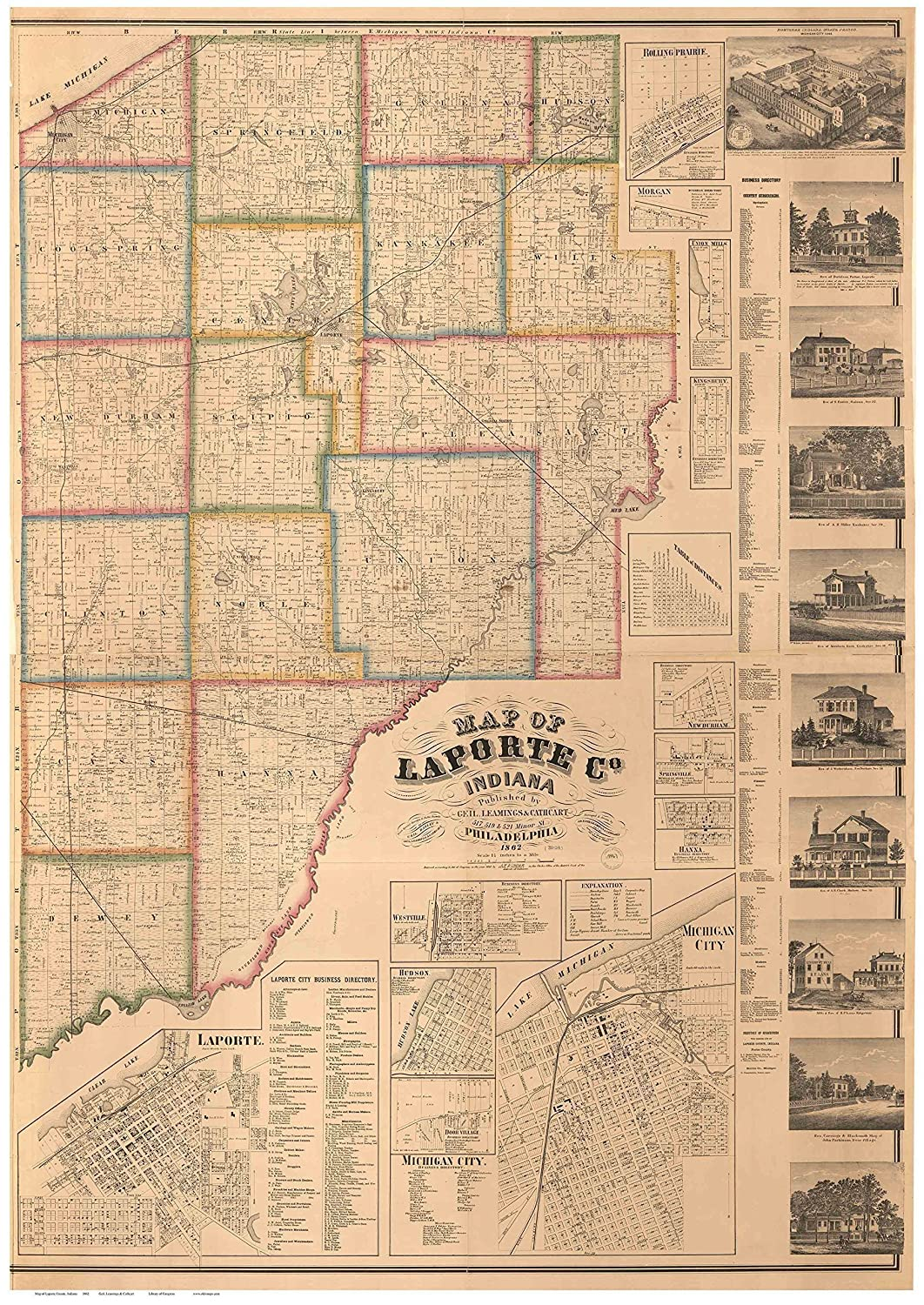 Amazon Com Laporte County Indiana 1862 Wall Map With Homeowner