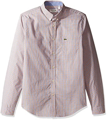43886b94c221ce Lacoste Men s Long Sleeve Poplin Check Regular Fit Woven Shirt ...