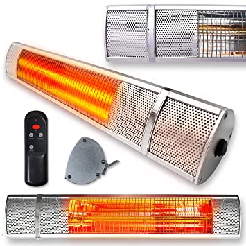 Futura Deluxe Wall Mounted Electric Infrared Outdoor Garden Patio Heater  2000W, Waterproof, Remote Control
