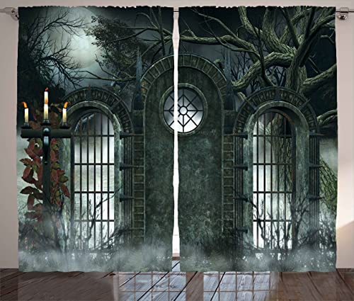 Ambesonne Horror House Curtains, Moon Halloween Historical Gate Gothic Background Candles Fiction View Print, Living Room Bedroom Window Drapes 2 Panel Set, 108 X 90 , Green Blue