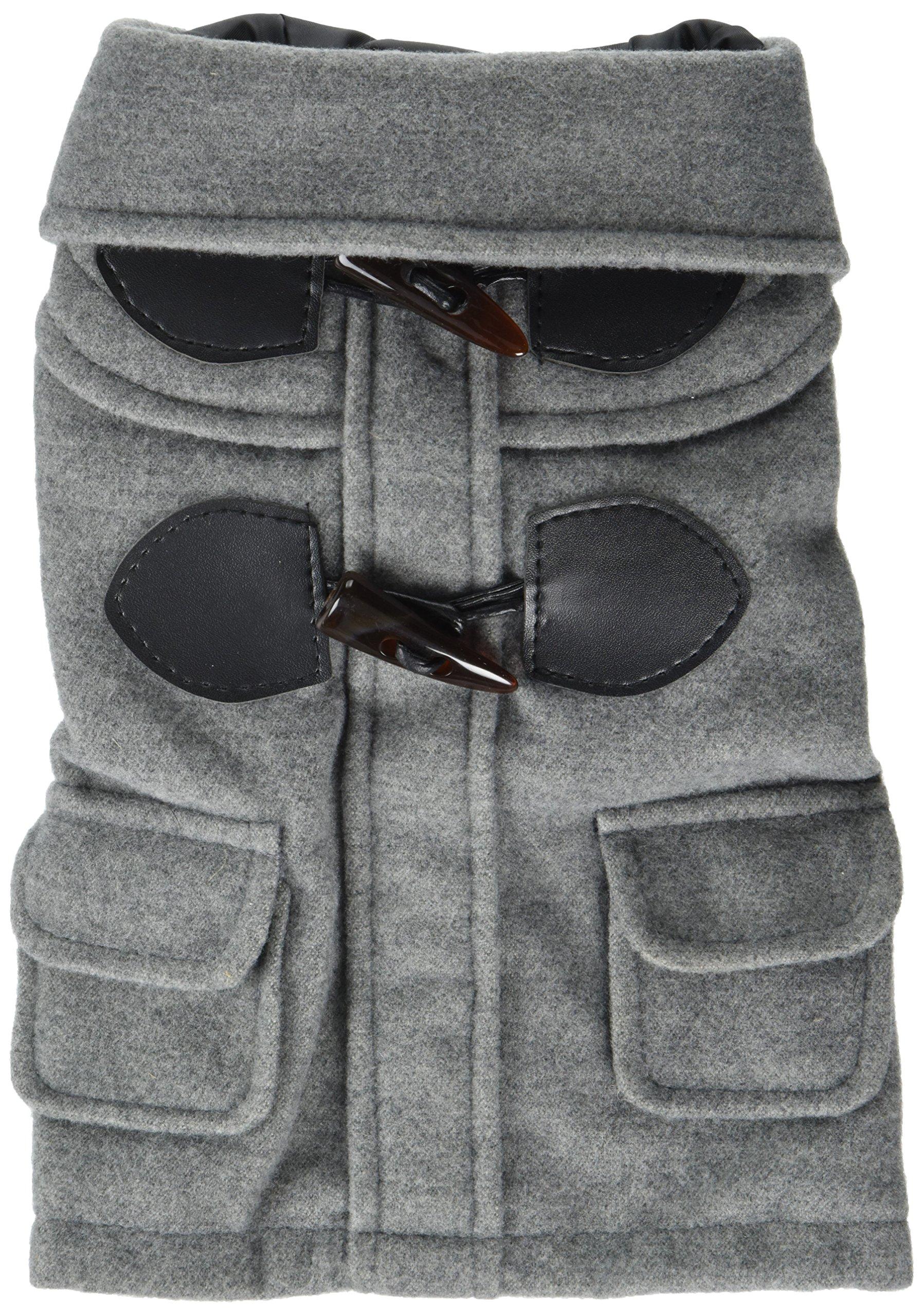 XING YU Pet British Style Horn Button Woolen Overcoat, Grey, Medium