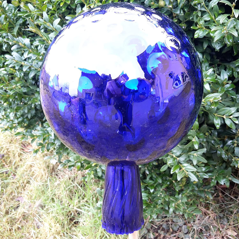 Hellblau Naturholz-Schreinermeister L Rosenkugel Rillenoptik H/öhe 18cm Durchmesser 12cm Rosenkugeln Gartenkugel Handarbeit stabieles Glas verspiegelt und wetterfest