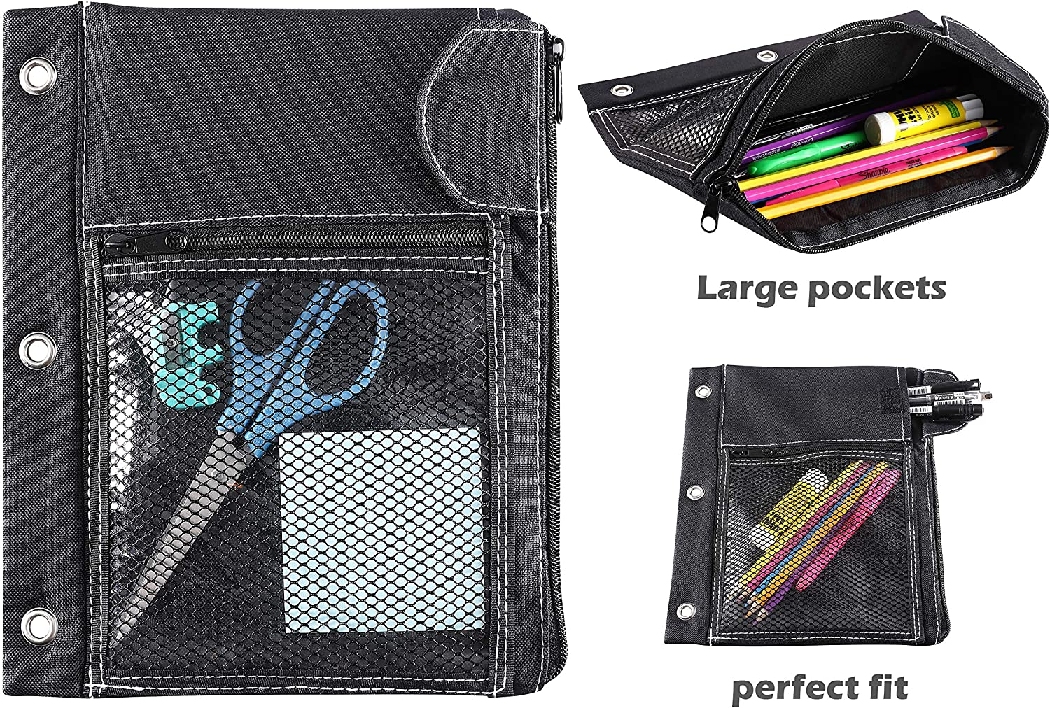 Black CAXXA 2 Pack 3 Ring Binder Pouch with Mesh Window and Zipper