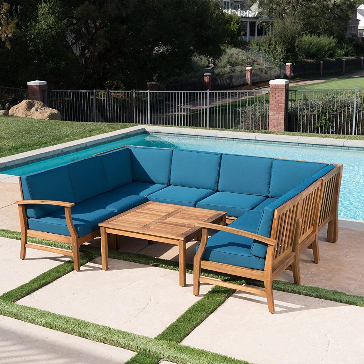 Lorelei Outdoor 8 Seater Teak Finished Acacia Wood Sectional Sofa and Table Set with Blue Water Resistant Cushions