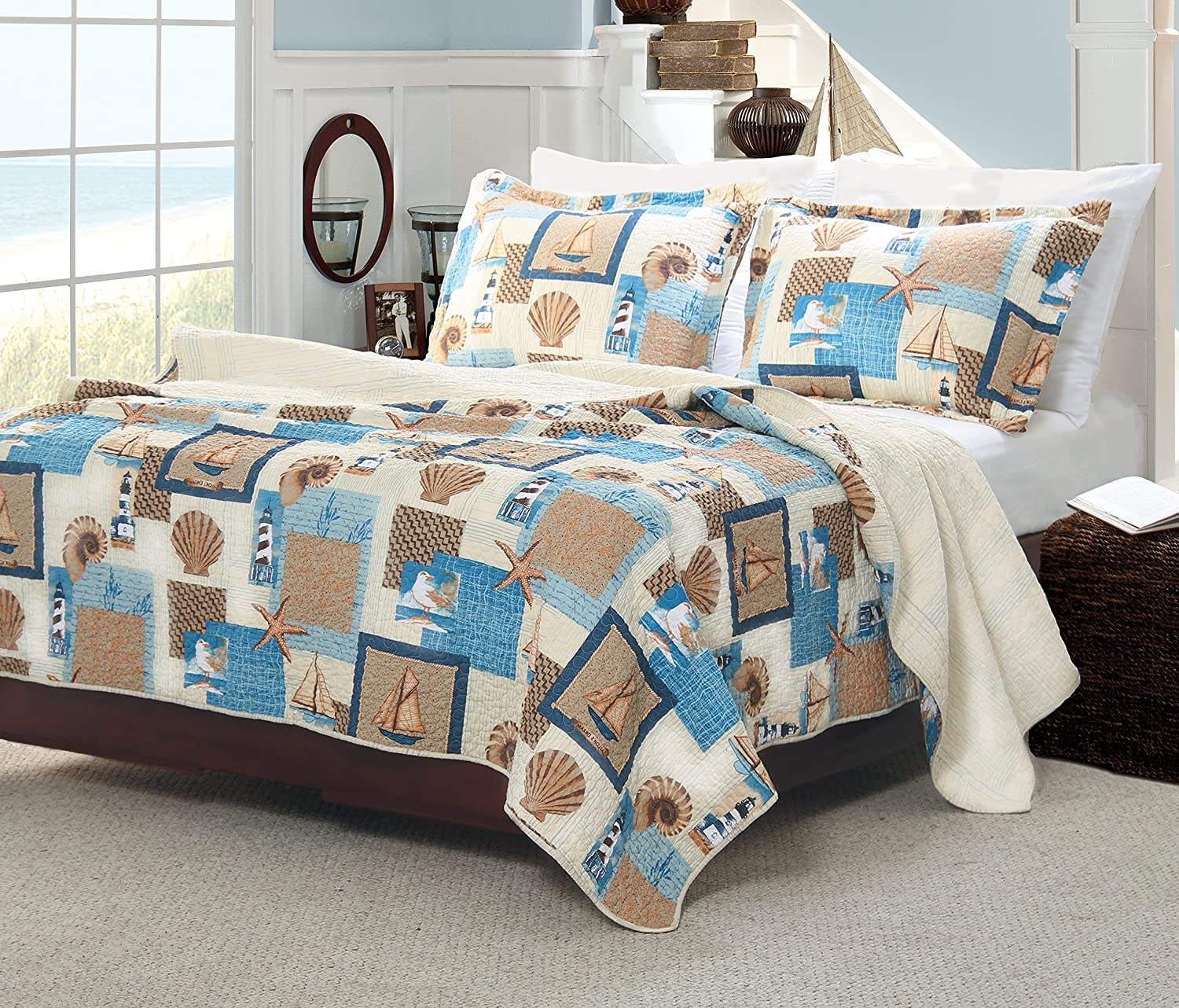 Greenland Home 3-Piece Beachcomber Quilt Set, Full/Queen, Multi