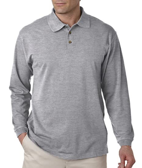 1a40368c UltraClub Polo Shirt 8532 Solid Men's Long-Sleeve Classic Pique Grey