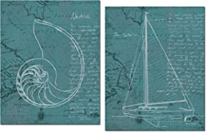 Nautical Blueprint Seaside Teal Nautilus Sea Shella and Sailboat Set by Marco Fabiano; Two 11x14in Unframed Paper Poster