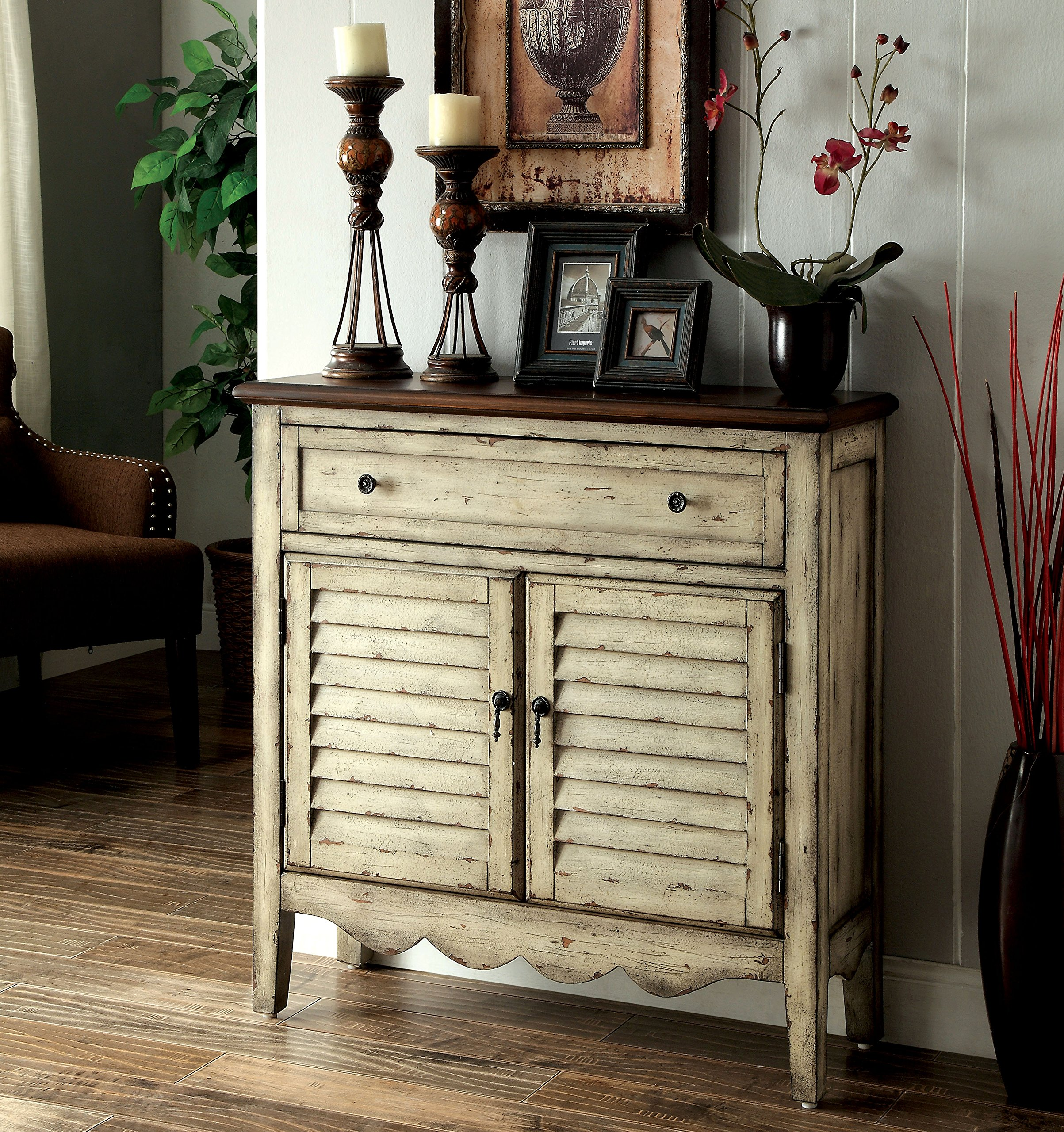 Furniture of America Gladen Vintage Style Storage Cabinet, Antique White/Brown