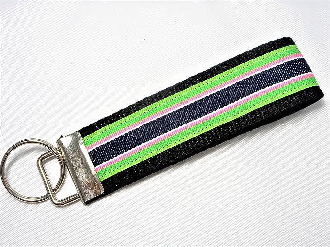 Key Fob Keychain >> Amazon Com Preppy Stripe Ribbon Wristlet Key Fob Keychain Blue