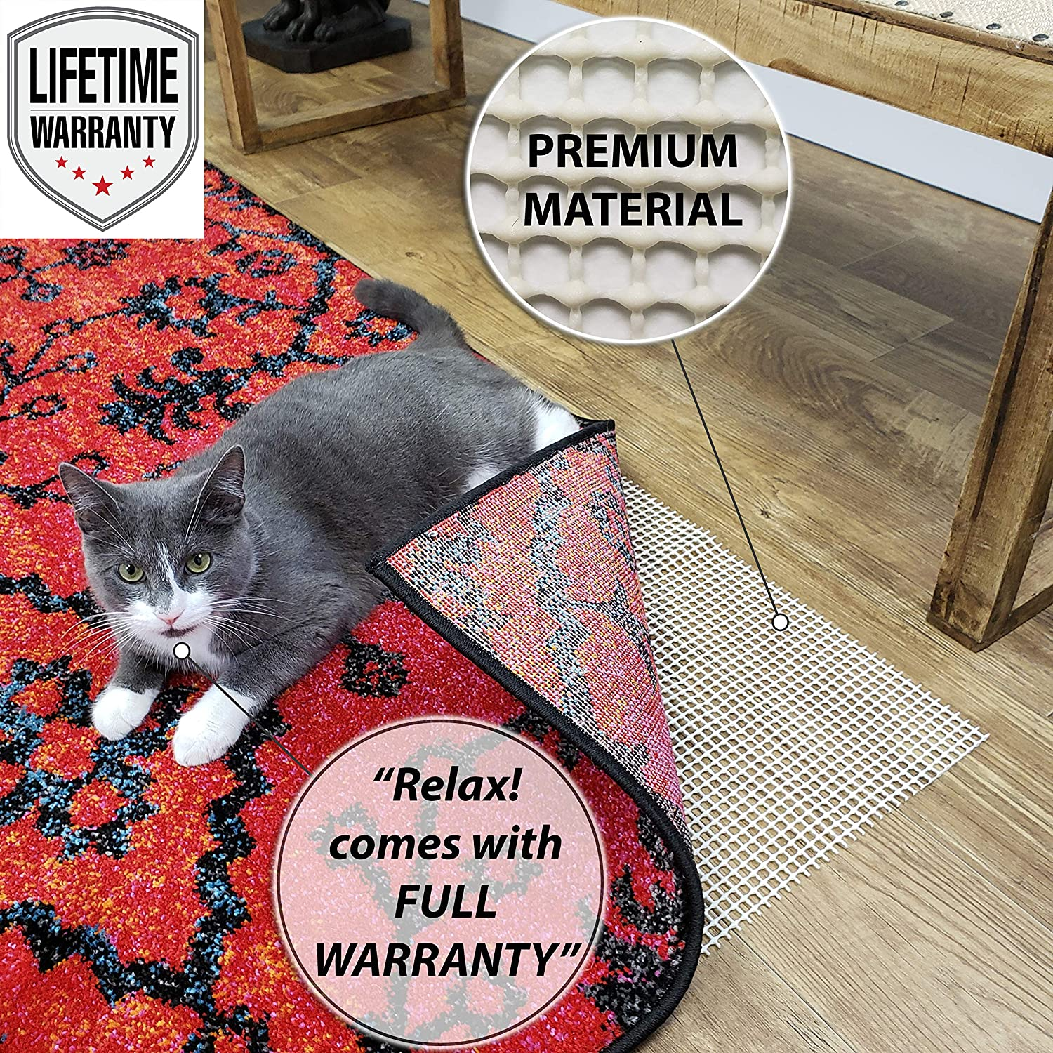 """Runners Trim to use as Shelf Liner Maxy Home 30/"""" x 50/"""" Natural Non-Slip Rug Pad Carpets 3x5 on Hard Surface Floors Doormats Premium Anti Slip Rug Pad Provides Anti Slip on Area Rugs"""