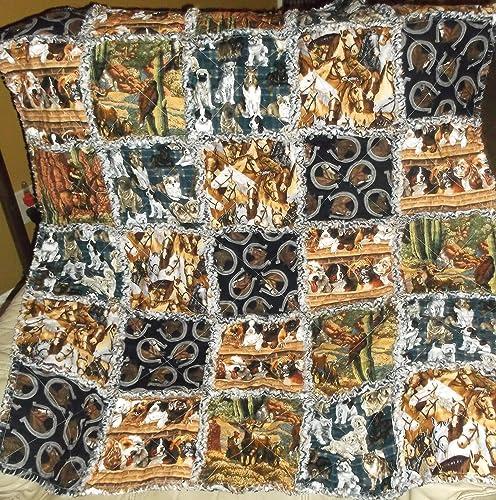Amazon Handmade 100 Cotton Rag Quilt Best Friends Horse And