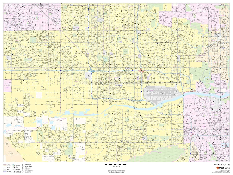 Map Of Central Arizona.Amazon Com Phoenix Arizona Inner Metro Landscape 48 X 36