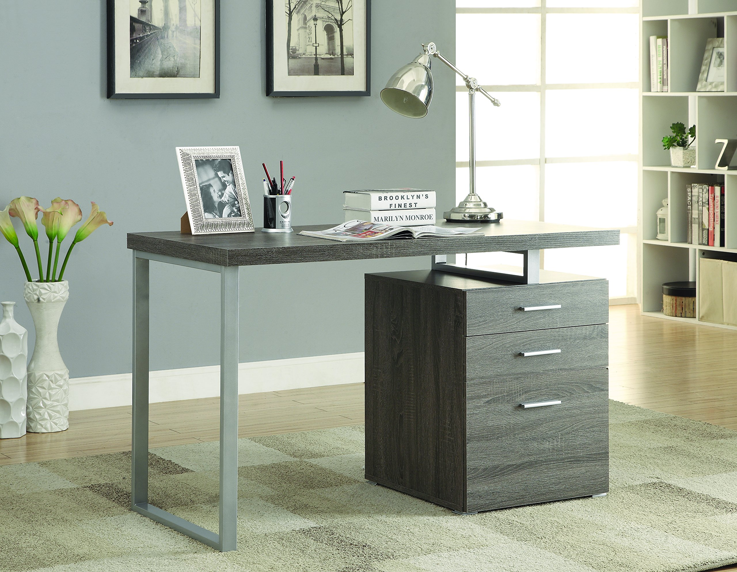 Coaster Home Furnishings  Modern Contemporary Office Desk with File Cabinet - Weathered Grey
