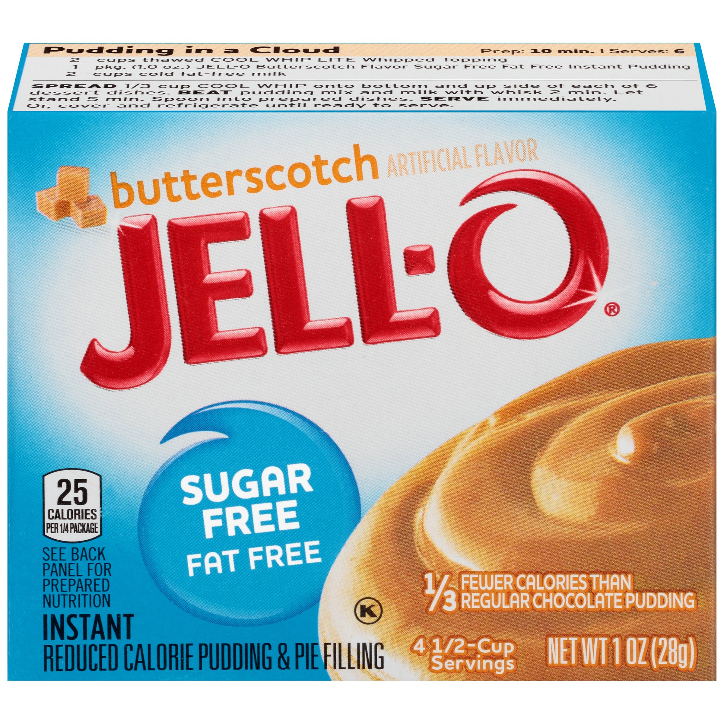 Jell-O Sugar-Free Instant Pudding & Pie Filling, Butterscotch, 1 oz