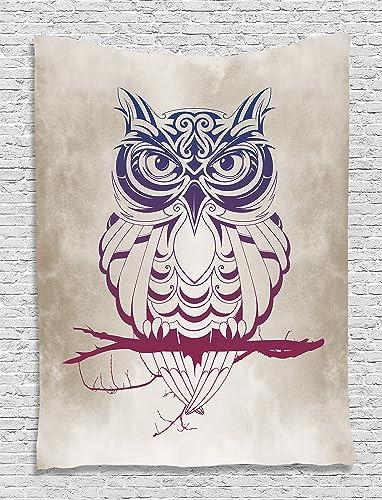 Ambesonne Owl Tapestry, Animal on Marsala Tree Branch Cream Background Night, Wall Hanging for Bedroom Living Room Dorm Decor, 40 X 60 , Navy Blue Burgundy