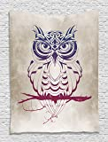 Owl Tapestry Owls Home Decor Night Owl on Marsala Tree Branch Cream Background Elegant Fancy Art Deco Design Patterns Wall Decoration Tapestry for Bedroom Living Room Apartment, Navy Blue Burgundy