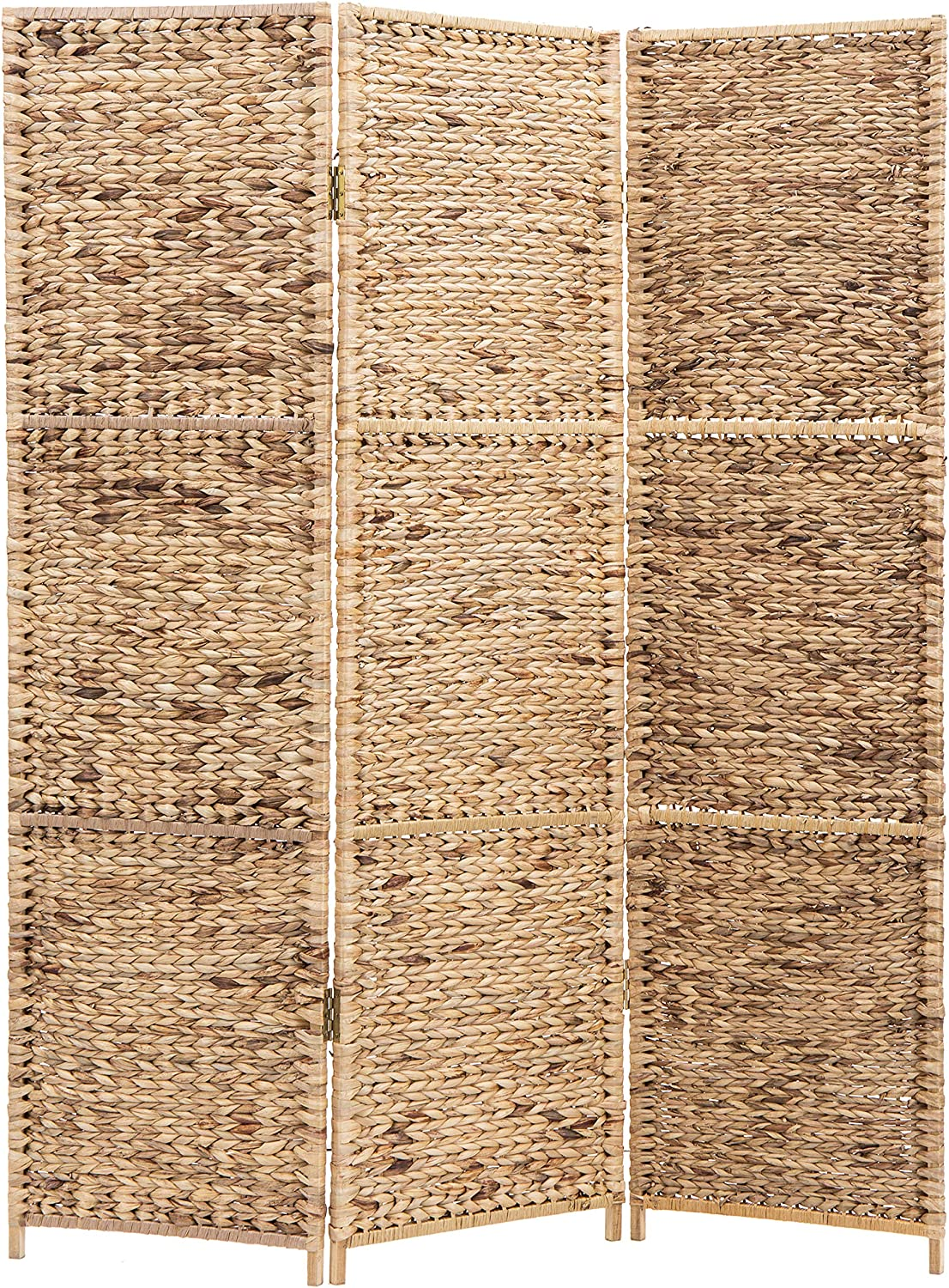 MyGift 3-Panel Handwoven Seagrass Wood Framed Room Divider/Privacy Folding Screen, Brown