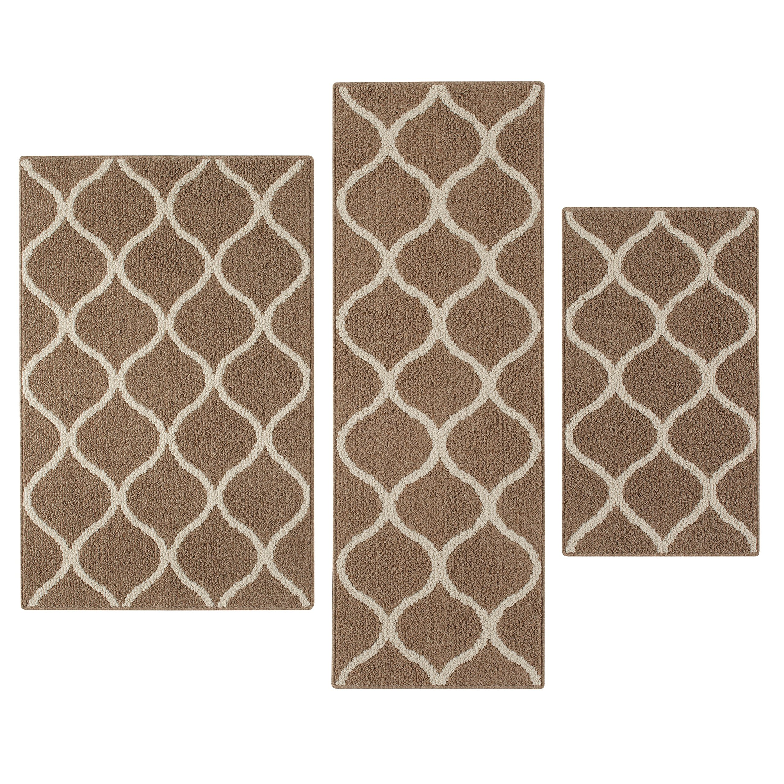 Maples Rugs Kitchen Rug Set - Rebecca [3pc Set] Non Kid Accent Throw Rugs Runner [Made in USA] for Entryway and Bedroom, Café Brown/White by Maples Rugs