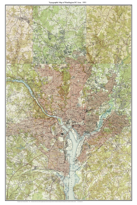 Amazon.com: Washington DC Area 1951 Old Topographic Map USGS ...