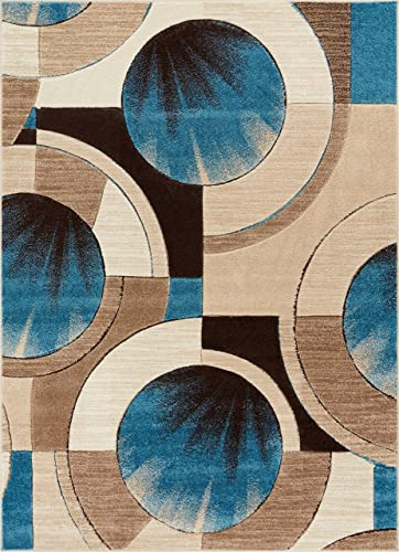 Well Woven Blue Yolo Modern Abstract Geometric 7 10 x 9 10 Area Rug