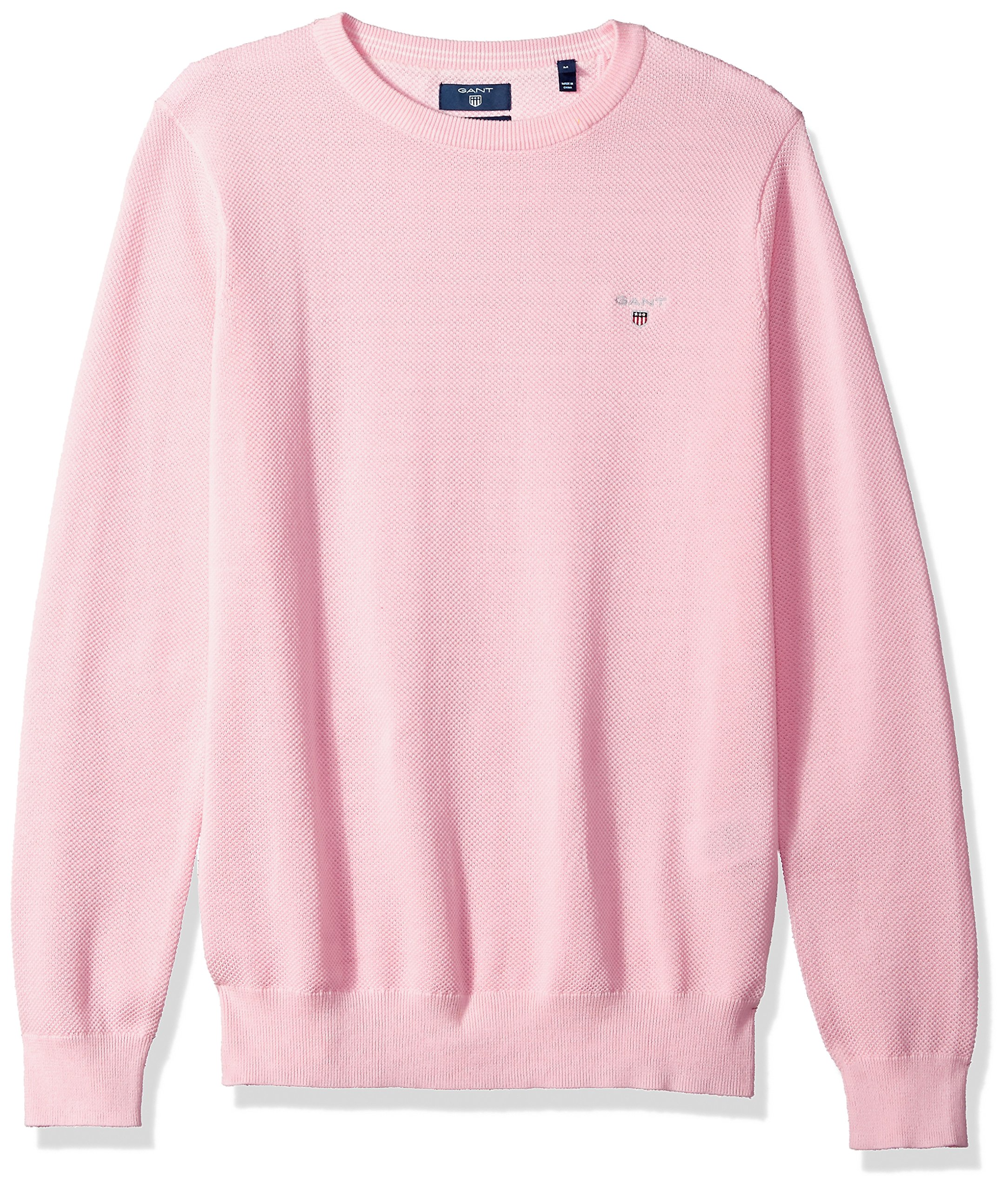 GANT Men's Pique Cotton Crewneck Sweater, California Pink, XXL