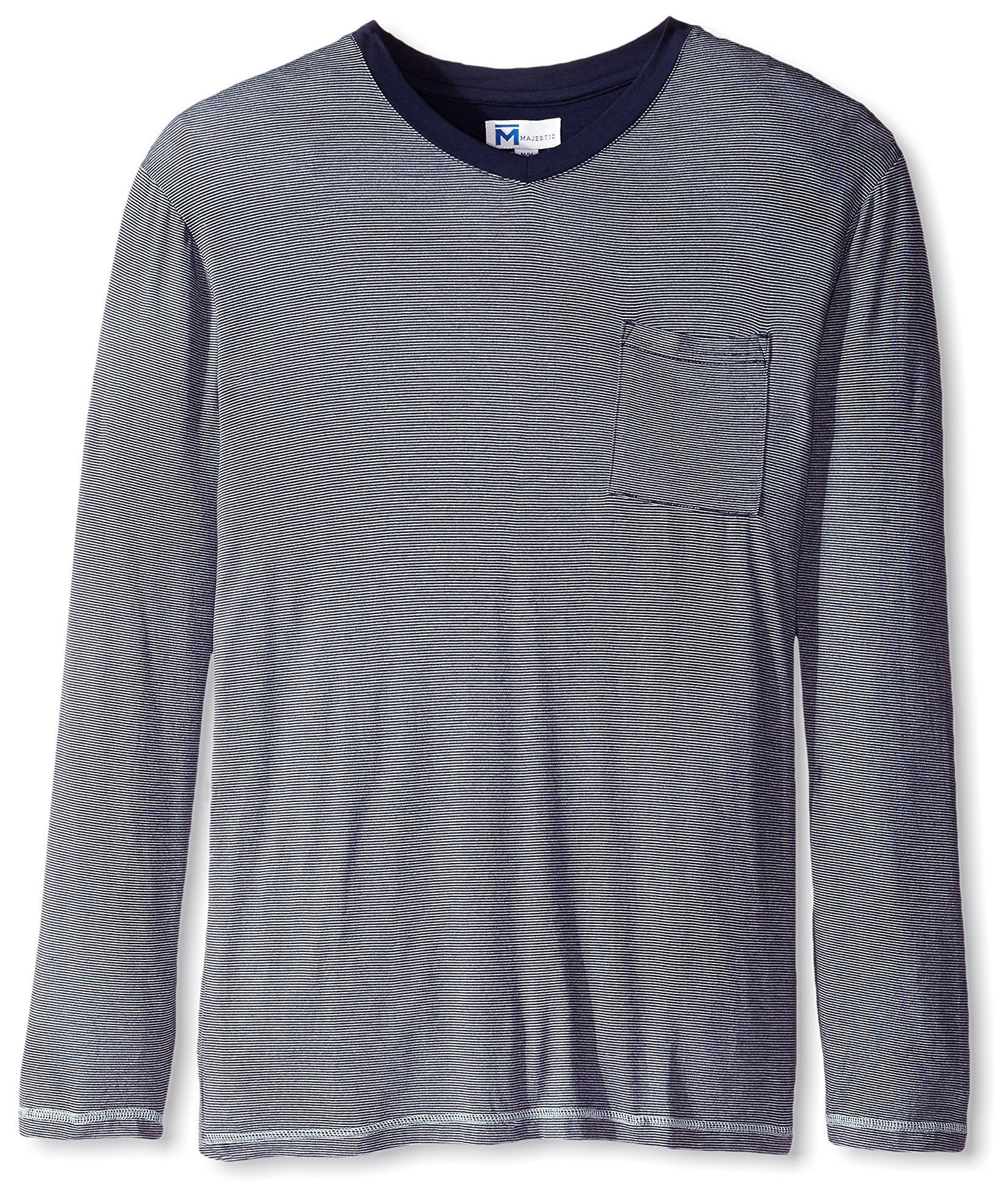 Majestic International Men's Modal Knit Fine Line Long Sleeve Top, Navy Stripe, L