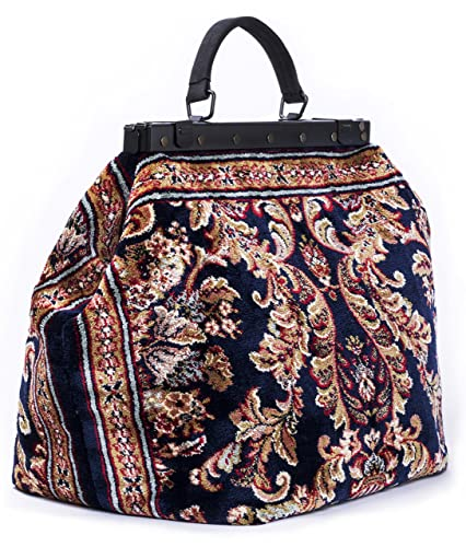 Vintage & Retro Handbags, Purses, Wallets, Bags Carpet Bag SAC-VOYAGE Blossom Navy - Magical Mary Poppins Vintage-Style Carpet Bag with leather handle and detachable strap. $369.95 AT vintagedancer.com