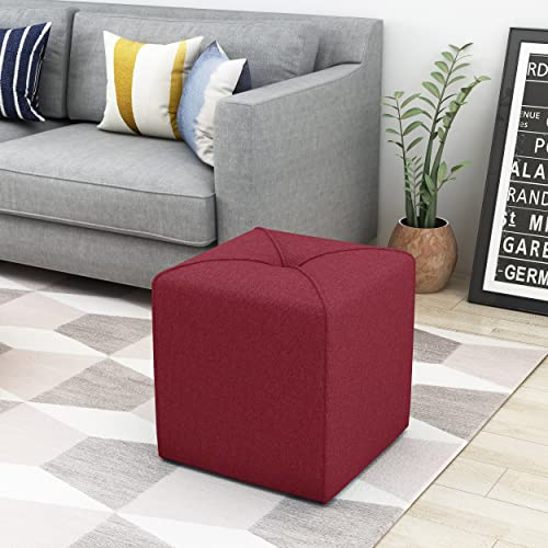 Christopher Knight Home Kenyon Deep Red Fabric Square Ottoman